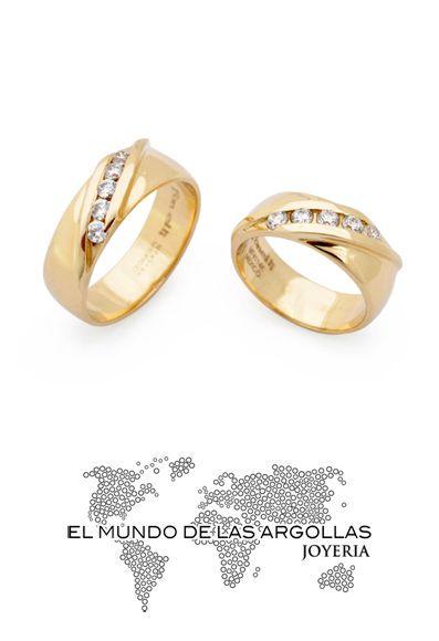 Modelo: A-A20237M - Argolla oro amarillo 14k macizo liso con 5 zirconias en diagonal 7mm #ArgollasDeMatrimonio
