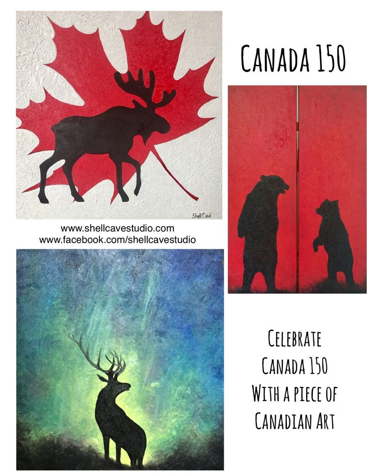 Canada 150  Canada's birthday. The sesquicentennial.   Celebrate with a piece of Art to remember this year, the years past and the years to come.   www.shellcavestudio.com www.facebook.com/shellcavestudio Instagram, Pinterest, Twitter @shellcavestudio   #art #artgallery #canada150 #artist #canadianart #artistic #canadaart #canadaeh #canada #albertaarts #mapleleaf #moose #oilpainting