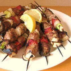 Greek meatball kebabs with lemon dip