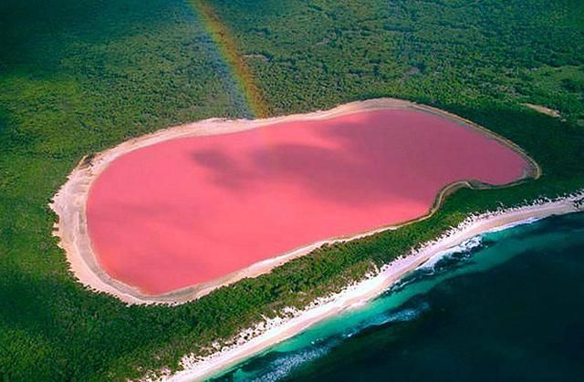 Found on Middle Island in the Recherche Archipelago off the South Coast of Western Australia, Lake Hillier is pink – and no one really knows why. Scientists' favorite theory is that it results from bacteria that live in the salt crusts of the lake. One of the best ways to see the lake is from above, where it appears bubble-gum pink. However, the water still looks watery pink from it's shores, and even when bottled.