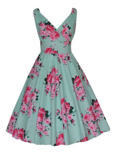 WOMENS-40s-50s-RETRO-VINTAGE-FLARED-ROCKABILLY-TEA-DRESS-MANY-PRINTS-NEW-8-20