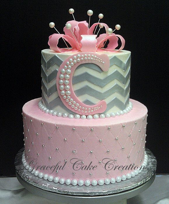 Pink and Gray Chevron Baby Shower Cake