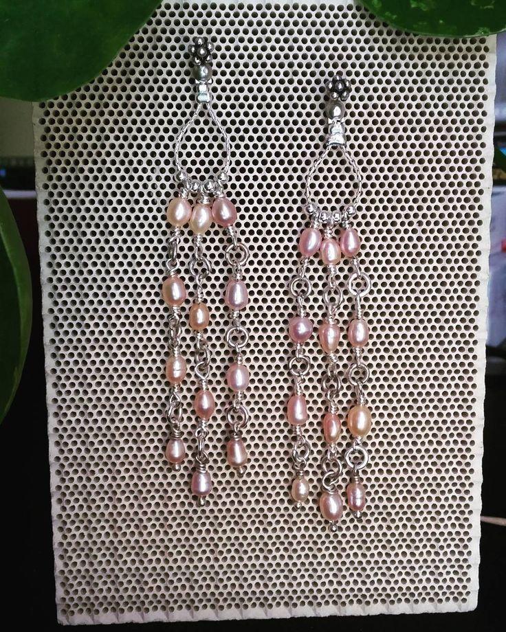 Grain #pearls on #silver.long #earrings