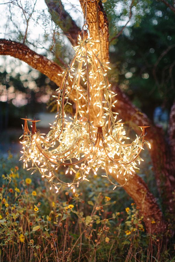 String Lights Wrapped Around A Wire DIY Chandelier