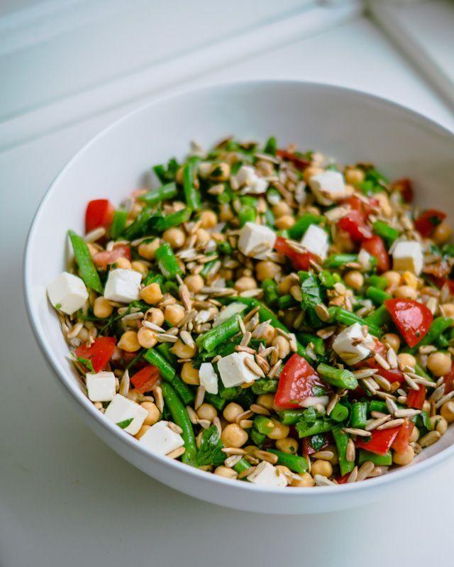 Vegetarisk bønnesalat. Nem at lave og smager fantastisk!