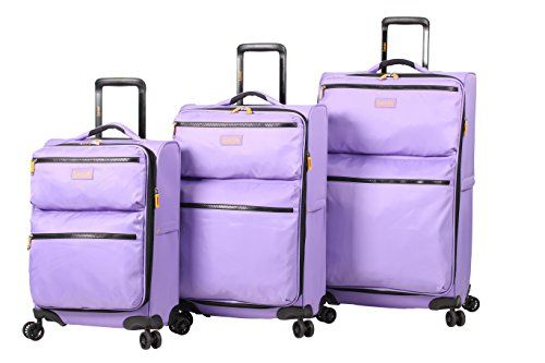 #GirlsGifts Lucas Ultra Lightweight 3 Piece Expandable Suitcase set With Spinner Wheels (One Size, Lavander)
