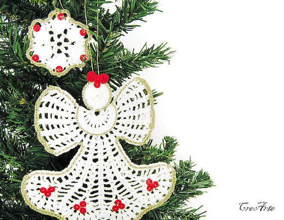 Crochet Christmas Angel and 1 snowflake Hanging by CreArtebyPatty