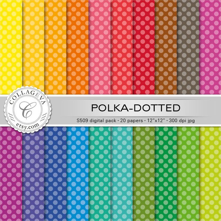 """Polka-dotted (S509) Digital Pack, 20 printable Paper, 12""""x12"""", Pastel dots, bright background, rainbow colors, Scrapbooking, Fun Party paper by collageva on Etsy"""