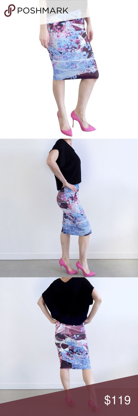 """clover canyon • cherry blossom scuba pencil skirt Romantic floral print on a form fitting neoprene pencil skirt. Wear with a crop top and heels for that nighttime vibe. 90% Polyester 10% Lycra.   • size medium  • 29"""" waist 