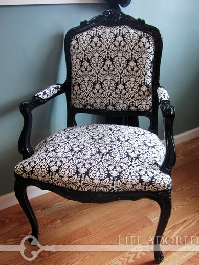 Elegant B Damask Upholstered Chair