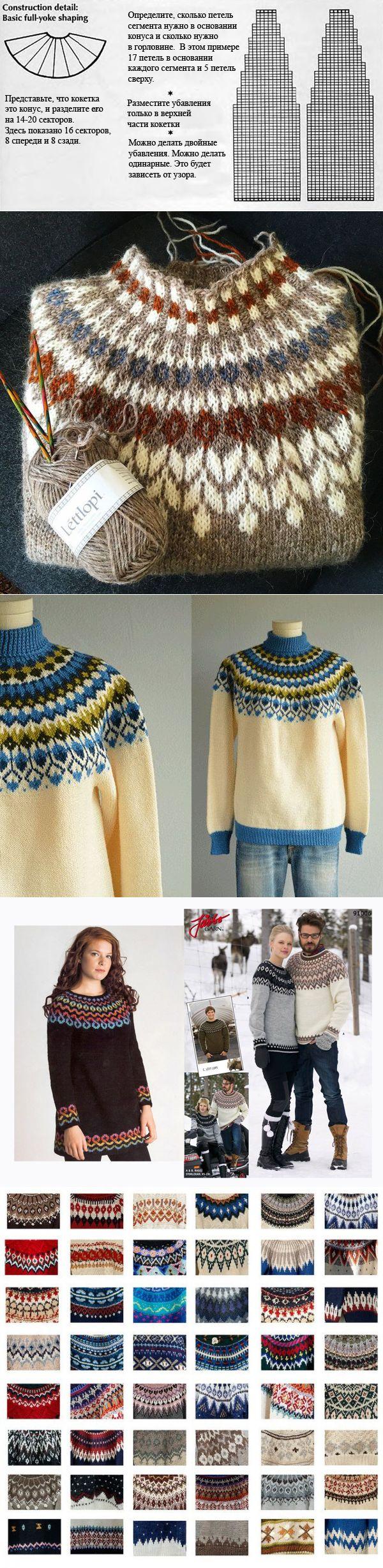 Знаменитый исландский свитер с круглой кокеткой Lopapeysa: история и метод вязания