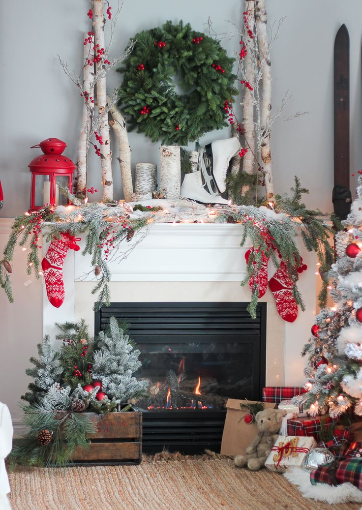 Festive red accents in this holiday display! #holidaydecor homechanneltv.com