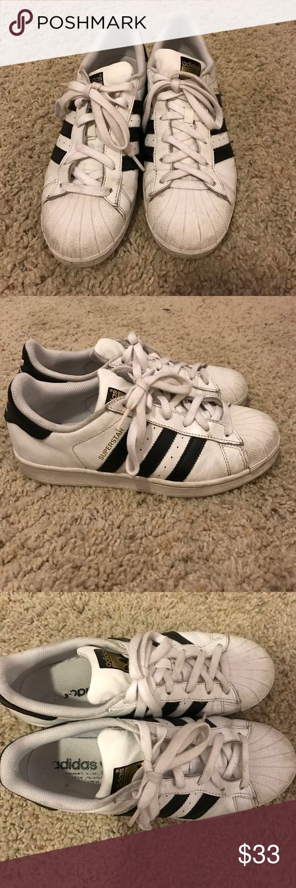 Adidas Superstar Worn. Few dirt stains. Pretty clean toe box area. Please let me know if you have questions size 8 but run about a whole size big Adidas Shoes Sneakers
