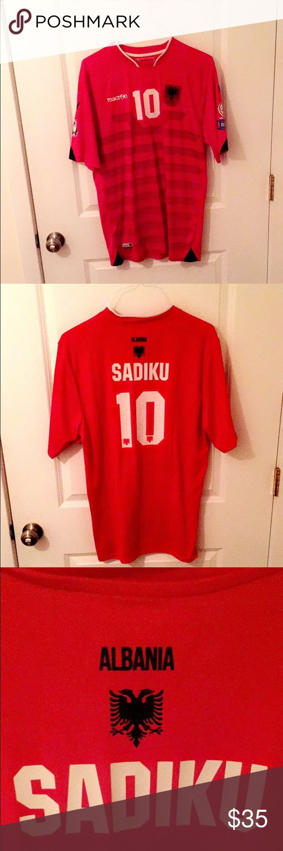 "OFFICIAL ALBANIAN NATIONAL SOCCER TEAM JERSEY OFFICIAL ALBANIAN NATIONAL SOCCER TEAM JERSEY ""SADIKU"" size Large •fits true to size •worn once like new •great material macron Shirts Tees - Short Sleeve"