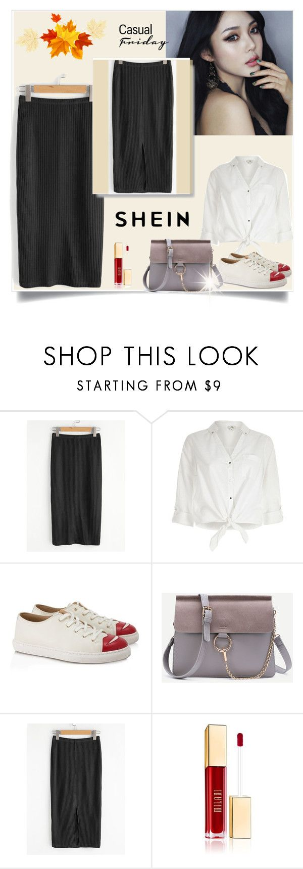 """Vented Back Rib Knit Skirt"" by almedina-mehic ❤ liked on Polyvore featuring River Island and Charlotte Olympia"