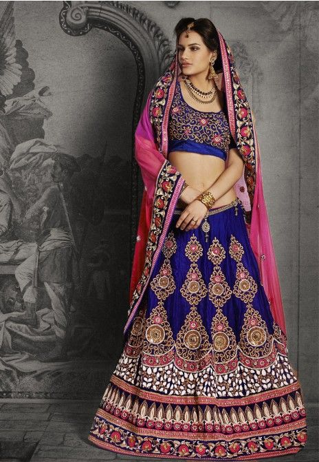 RoyalBlue & Pink Embroidered Net & Velvet Party Wear Lehenga Saree