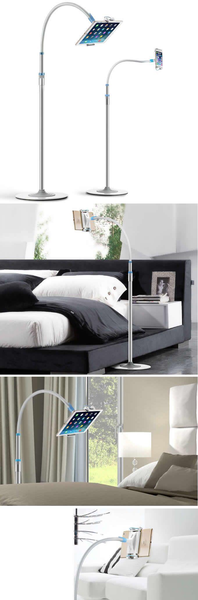 Adjustable Flexible Floor Mount Stand For iPad Pro 12.9 inch, 4-12.9 inch iPad Tablets Smartphones