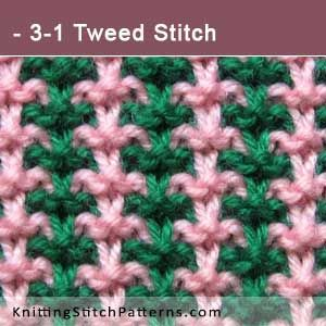 3-1 Tweed Stitch. Free Knitting Pattern includes written instructions and video tutorial.