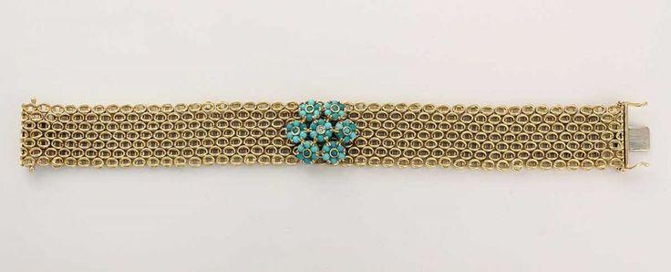 Armband, 750 GG, Flechtdekor, im Mittelteil blütenförmig besetzt mit einem Brillant von ca. 0,03 c
