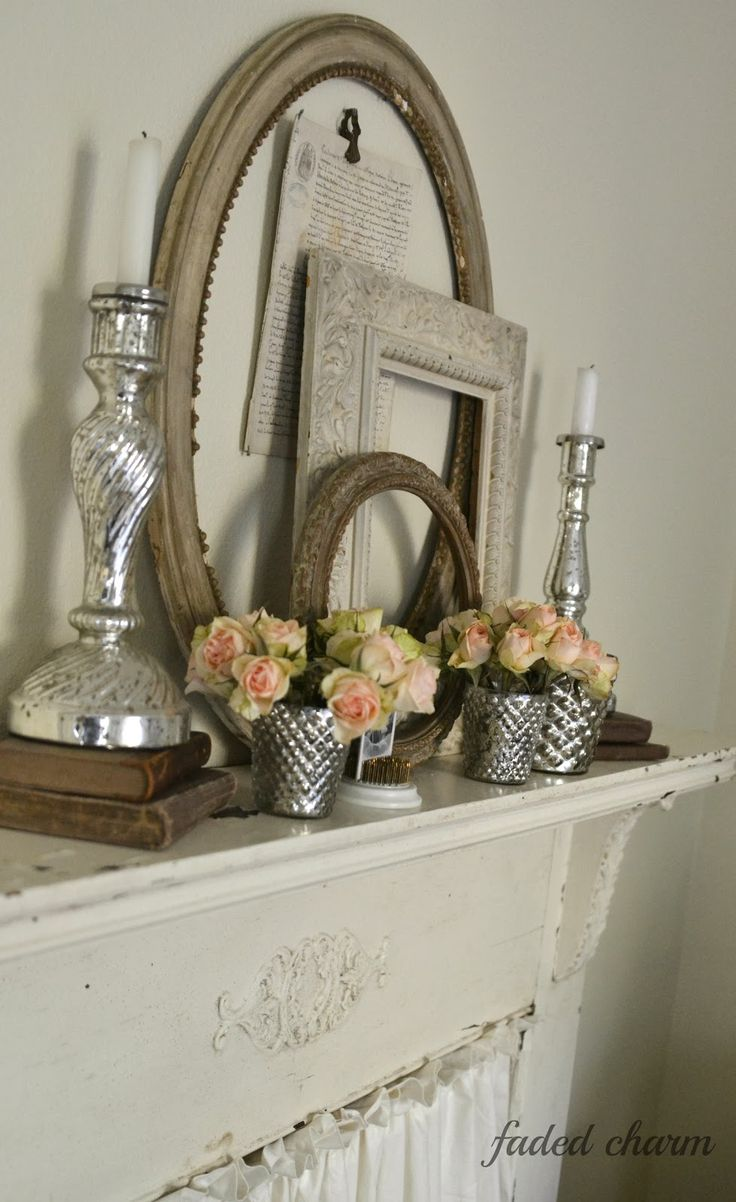 Faded Charm Decorating With Vintage Frames Fireplace