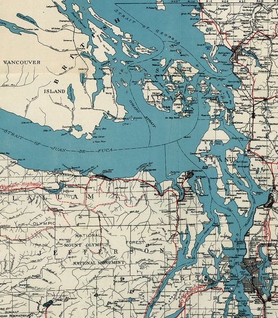 Map Of Puget Sound And Surroundings Washington Wt 1877 Vintage