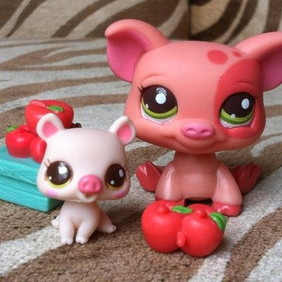 Littlest Pet Shop ~ NEW cutest MOMMY and BABY PIG ~ #2672 AND #2673