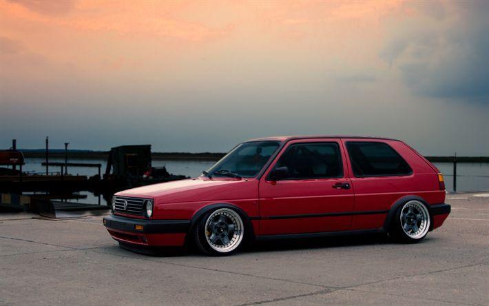 Download wallpapers Volkswagen Golf, 4k, MK2, tuning, red Golf, parking, tunned Golf, VW Golf, Volkswagen