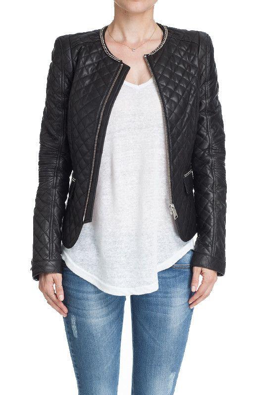 Quilted Leather Jacket - Quilted leather jacket in black with chain detail. Full zip closure... | ANINE BING