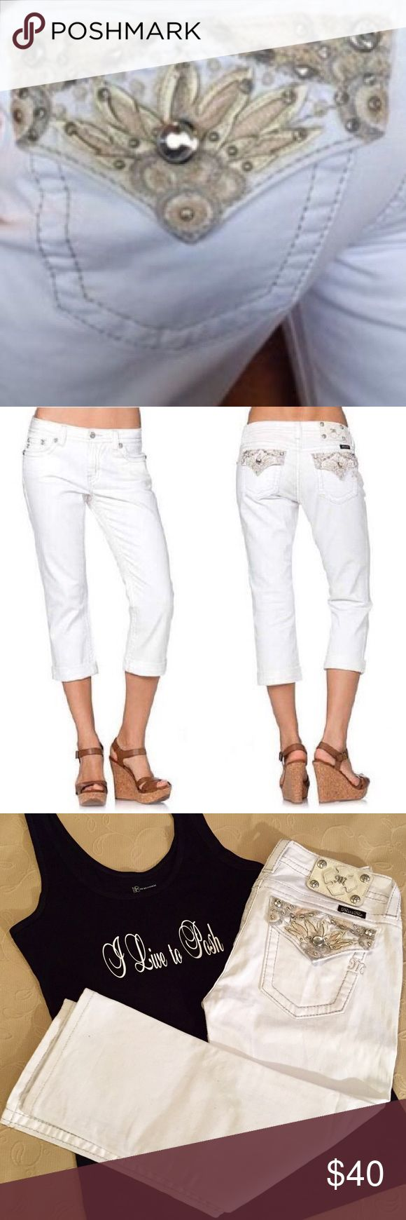 White  Floral Goddess Miss Me Capris A fresh new twist on an all time FAVORITE!! Their name says it all!!  These White Miss Me Floral Goddess Boyfriend Capri Keep it casual with this versatile capri jean, rendered with an easy fit, rollable cuffs, and contrast stitching to define the silhouette. The smooth, dark wash is easy to style with all your favorite tops. Let out your inner Goddess!! Pre-Loved from my personal collection Miss Me Jeans Ankle & Cropped
