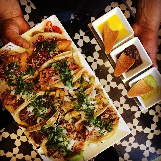 TACO TRIO: fried rock cod, traditional carnitas and fingerling potato ...