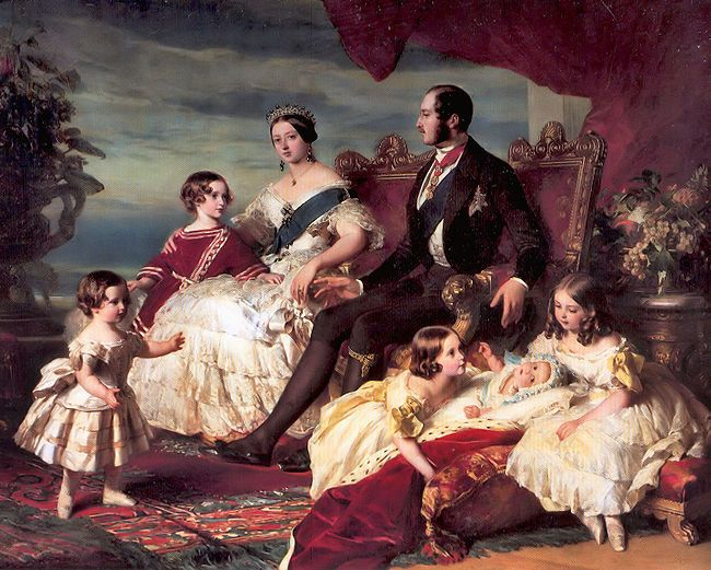 Queen Victoria and Prince Albert and their children. This portrait presented a beautiful and domestic scene, with the Queen at the center.