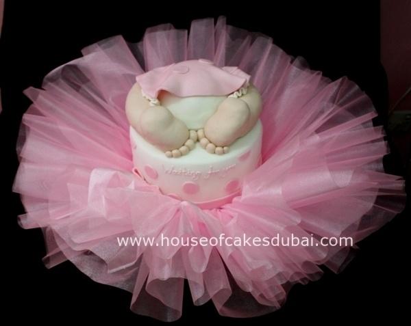 Tutu baby shower ballerina theme cake