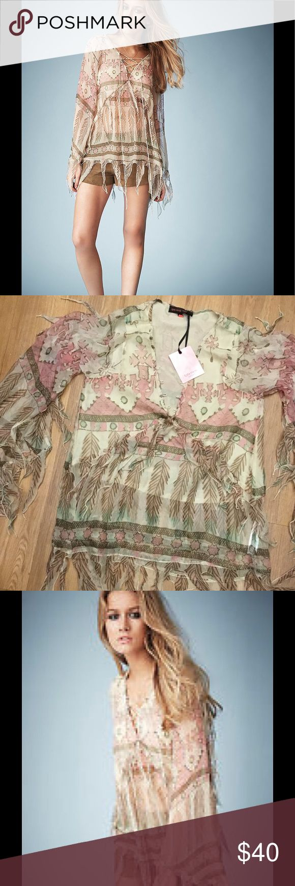 New Kate Moss for Top Shop Fringe Blouse U.S 2 New Blouse top shop missing the Lace in front please see photo but simply you can use different Lace in the front it's fine marked size 2 runs bigger top shop Tops Blouses