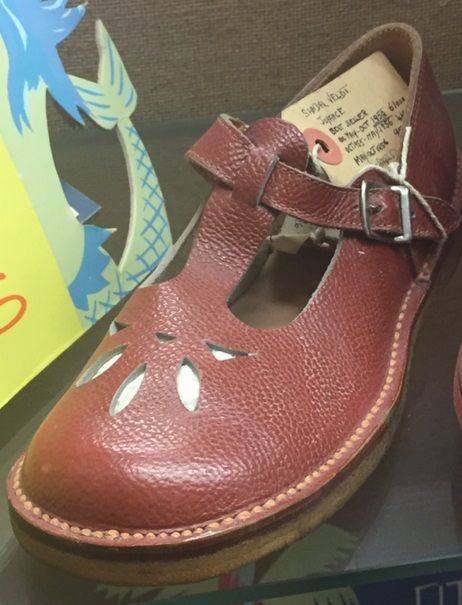 "4df4c972deb0a3 A 1955 Clarks ""Joyance"" sandal on display at the Clarks Shoe Museum ..."