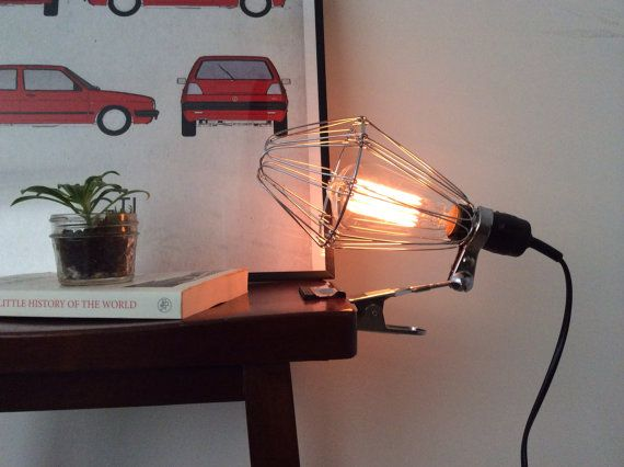Vintage Industrial Style Lighting -- Wire Cage Clip On Lamp / Portable Lamp / Reading Lamp