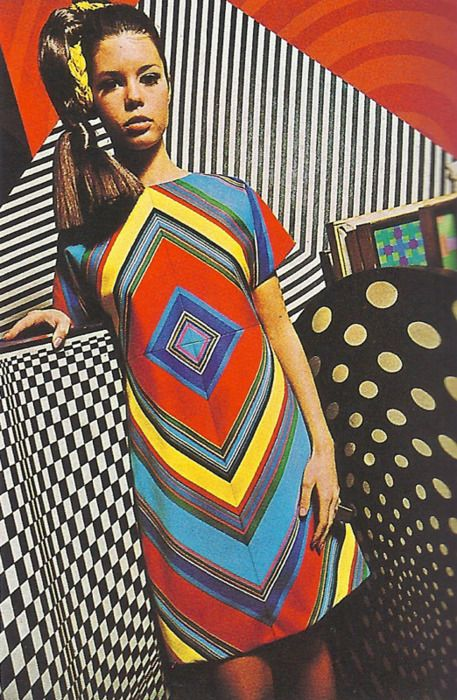 Colorful Op-Art dress designed by Deanna Littell