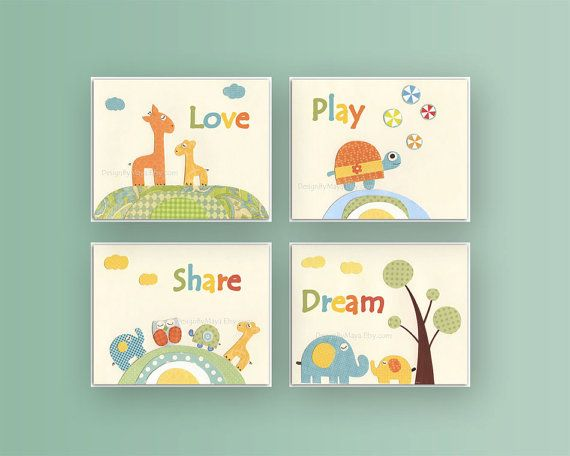 Kids wall art decor Nursery art prints Baby Room by DesignByMaya, $90.00