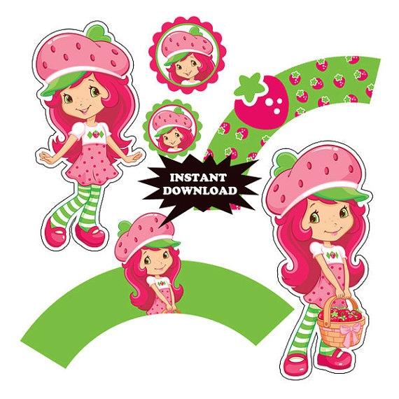 INSTANT DOWNLOAD Strawberry Shortcake Birthday Centerpiece - Digital File - for Strawberry Shortcake party
