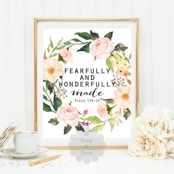 Psalm 139 14 Fearfully and wonderfully made quote Bible verse printable quote art print Scripture print typography wall art decor