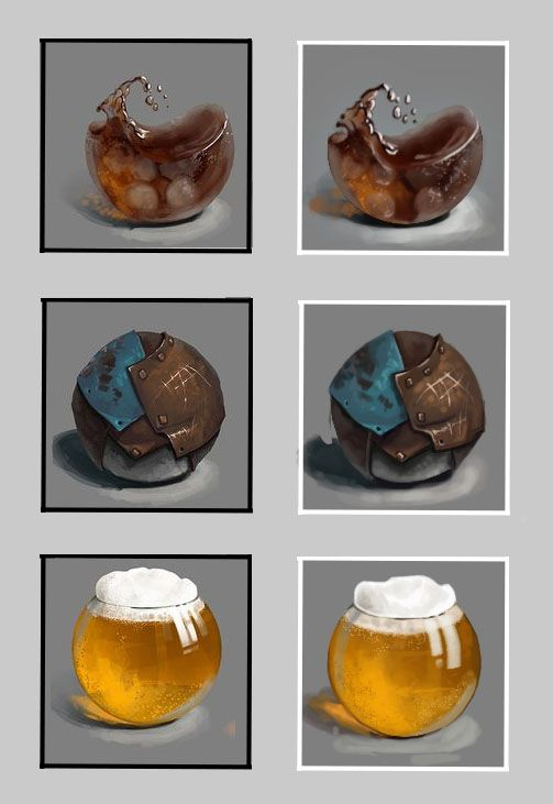 1-3 of my large material sphere/prism/cube reference collection. Cola, rusted metal and beer. Black=Original, white=mine.