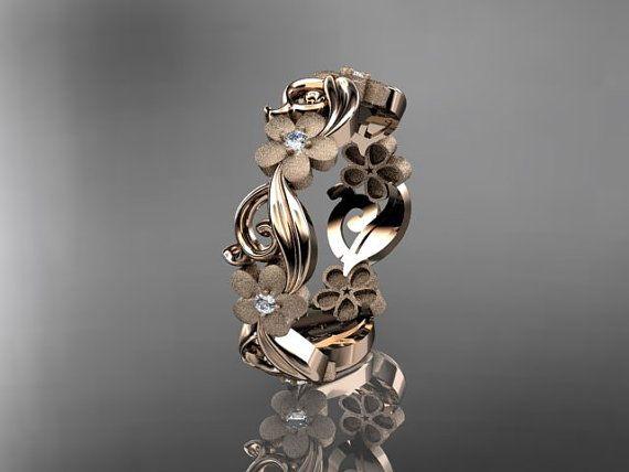 14kt rose gold diamond flower wedding by anjaysdesigns on Etsy, $785.00