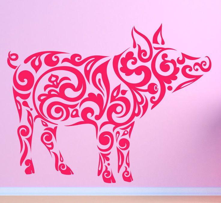 Farm Pig Hog Boar. Tribal Pattern. Vinyl wall sticker decal art. Any colour.