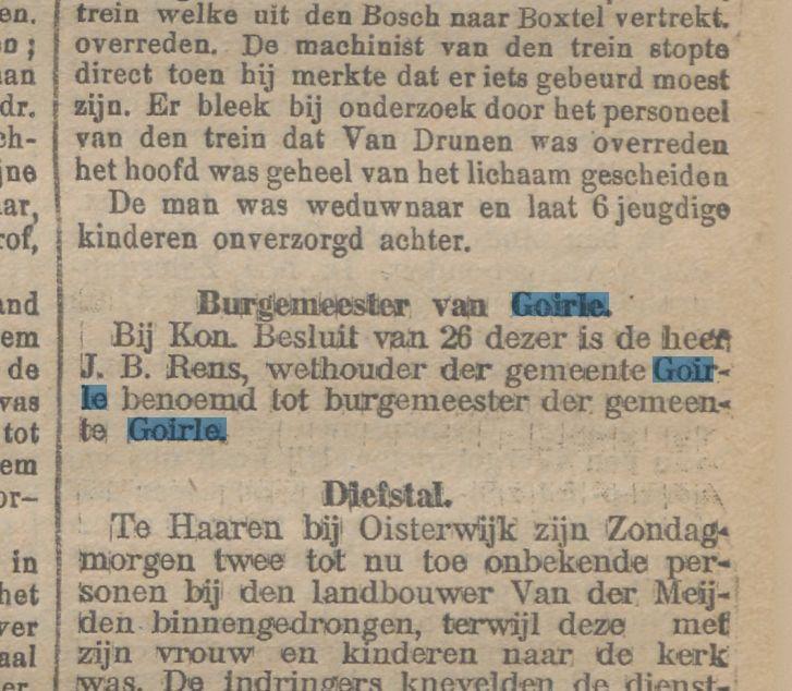 Benoeming Burgemeester Rens van Goirle. Krantentitel: Nieuwe Tilburgsche Courant Datum, editie:27-08-1913