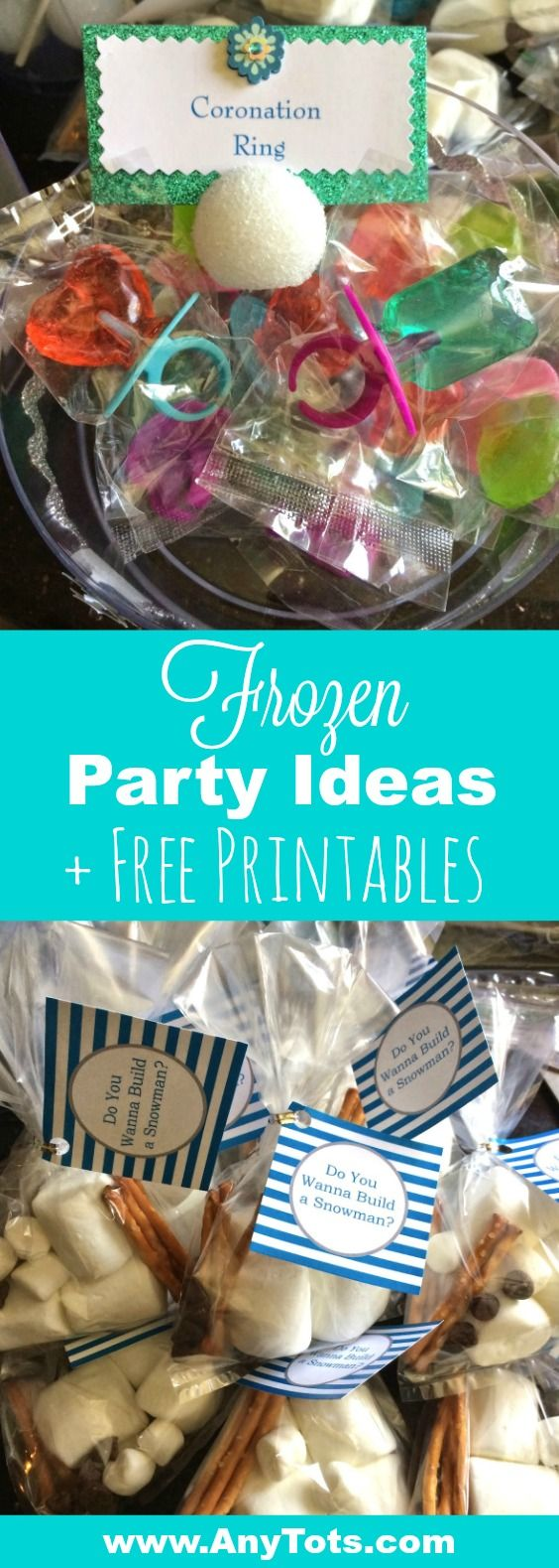 """Frozen Party Ideas plus Frozen Free Printable Favor Tag. Enjoy the """"do you wanna build a Snowman"""" Free Printable to go with your frozen treat bag and also add some coronation ring into your Frozen Birthday Party. More Frozen Free printable on the blog -> www.anytots.com"""