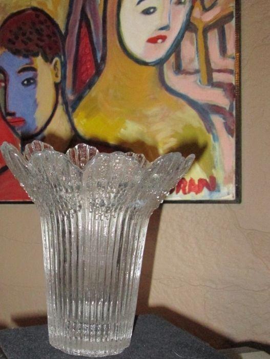 RETRO DECOR MODERN SWEDISH CLEAR ICICLE FLOWER PETAL ART GLASS VASE SCANDINAVIAN #Retro