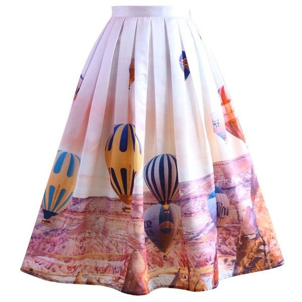 Chicwish Hot Air Balloon Festival Print Midi Skirt (54 CAD) ❤ liked on Polyvore featuring skirts, multi, patterned skirt, mid-calf skirt, patterned midi skirt, calf length skirts and party skirts