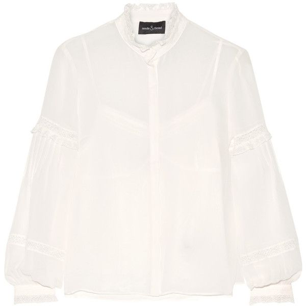 Needle & Thread - Lace-trimmed Silk-chiffon Blouse ($181) ❤ liked on Polyvore featuring tops, blouses, ivory, sequin top, neon top, white sequin blouse, sequin blouse and ivory top