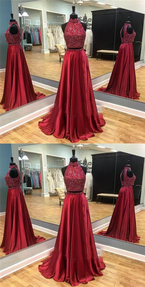 fc48b7cae1d Two Pieces Burgundy Beaded Prom Dresses
