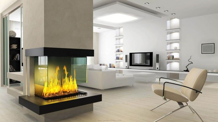 Living Room:Modern Minimalits Living Room With Double Side Fireplace  Pillars Design Feat Glass Cover Also Cream Armchair Warm Ambiance Living  Room U2026