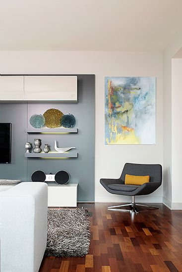 Blanc gris bleu jaune noir salon s jour for Decoration interieur noir blanc gris